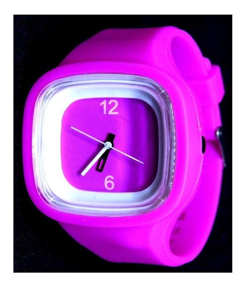 Relógio Infantil Pink Branco Quadrado Analógico Meninas Top