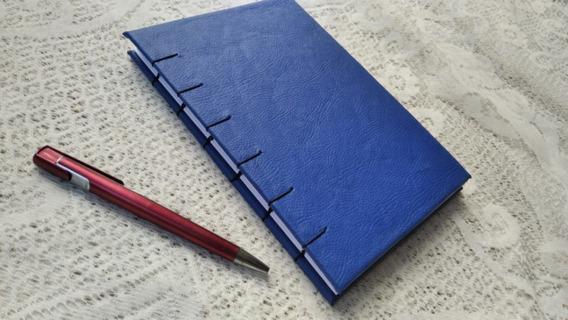 Caderno Sketchbook Azul 160 Pág Agenda A5 Couro Diário