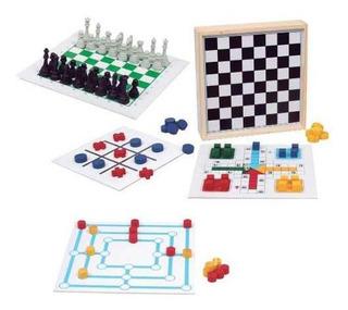 Conjunto Jogos 5x1 - Dama Trilha Jogo Da Velha Xadrez Ludo