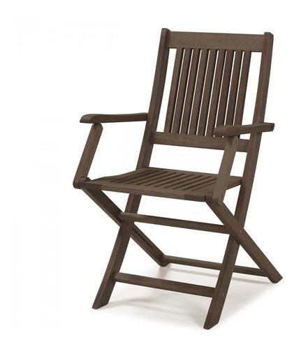 Cadeira Dobrável Em Madeira Maciça Com Braços D