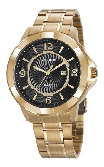Relógio Masculino Seculus Dourado 20755gpsvda2 Fundo Preto