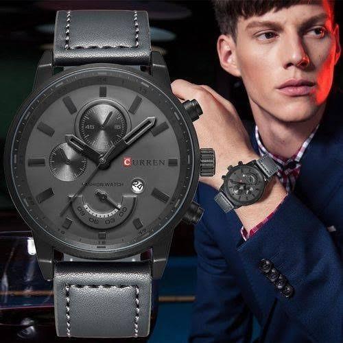 Relógio Masculino Elegante Curren Cinza Pulseira De Couro