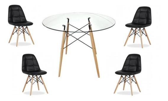 Mesa Redonda Eames 90cm Com Tampo De Vidro 10mm E 4 Cadeiras