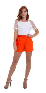 Shorts Malha Canelada Com Faixa Laranja Kinara