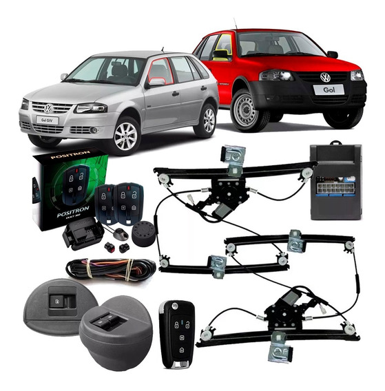 Kit Vidro Elétrico Gol Saveiro Parati G4 Dianteiro Módulo Sensorizado 4 Portas 2006 Até 2013 + Alarme Ex360 + Chave Px80