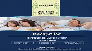 Hotel Hojas Directa 100% De Bambú 4 Pieza Cama Hoja Set - 1