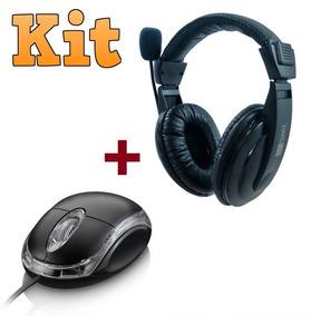 Headset Com Microfone Headphone Gamer Pc + Mouse Óptico Usb