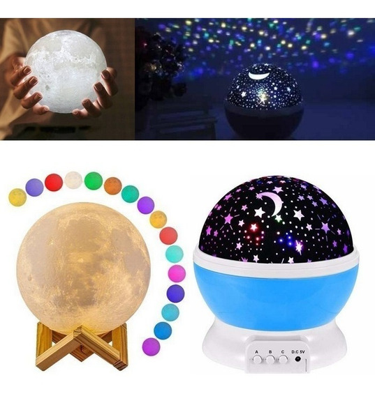 Kit Luminária Lua Cheia 3d Touch 15cm + Projetor Estrelas