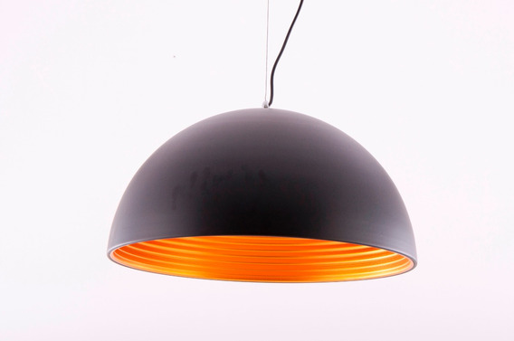 Pendente De Metal Preto Com Dourado 1 Lampada E27