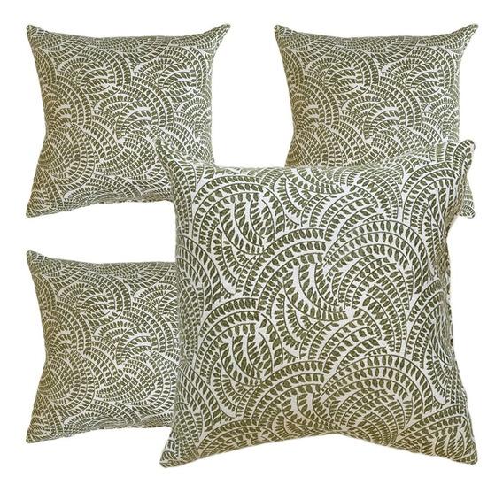 4 Cojines Decorativos Hojas Verde Blanco Cal Salas Recamaras