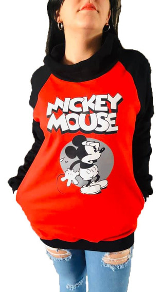 Buzo De Mujer Largos Con Capucha Y Bolsillo Mickey Stitch