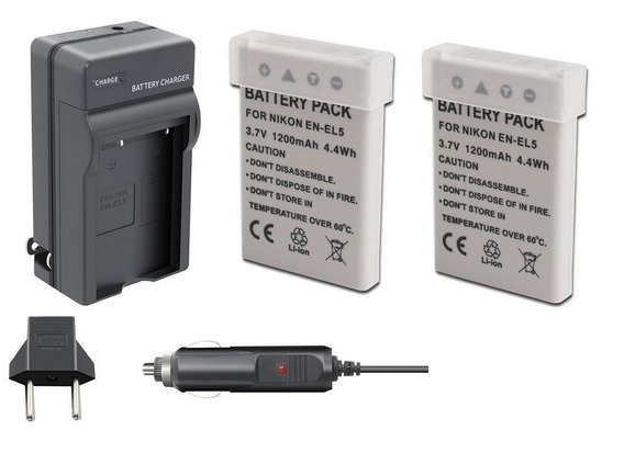 Kit 2 Bateria + 1 Carregador P/ Nikon Coolpix P520 P510 P100
