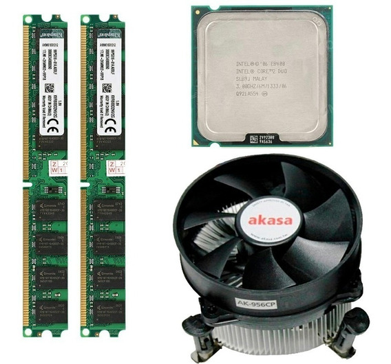 Kit Core 2 Duo E8400 Lga775 + 4gb Memoria 2x2 + Cooler Akasa