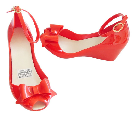 Sandalias Con Lazo Y Tacón Miranda Color Rojo - Pvc