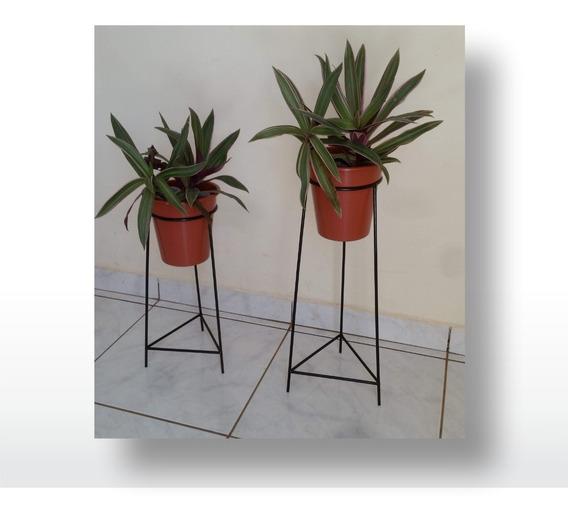 Suportes Para Vaso De Plantas 2 Unidades + Vasos - Tripé