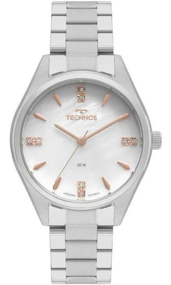 Relógio Technos Feminino Prateado Elegance 2036mkr/1b C/ Not