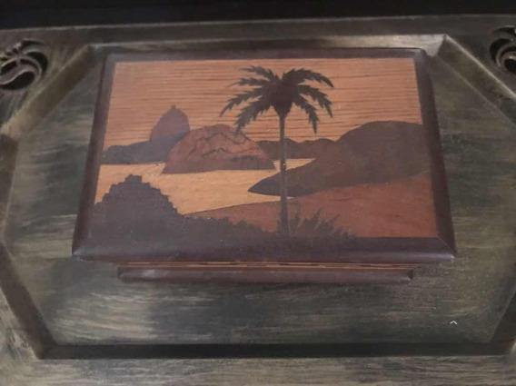 Caixa Cigarreira Antiga Madeira Marchetada Rio Janeiro