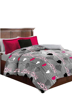Cobertor Con Borrega Matrimonial, Gris Corazones