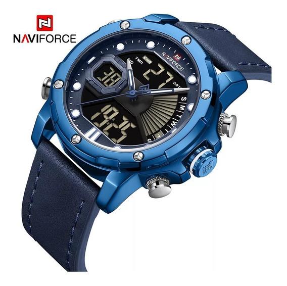 Relógio Masculino Naviforce 9172 Couro Azul Luxo Lançamento