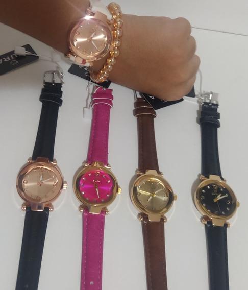 Kit C/10 Relógios Eura Feminino Couro Atacado Revenda