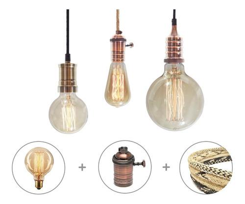 Imagen 1 de 10 de 6 Portalamparas Metalico + 6 Lamparas Filamento + 10m Cable Enviogratis
