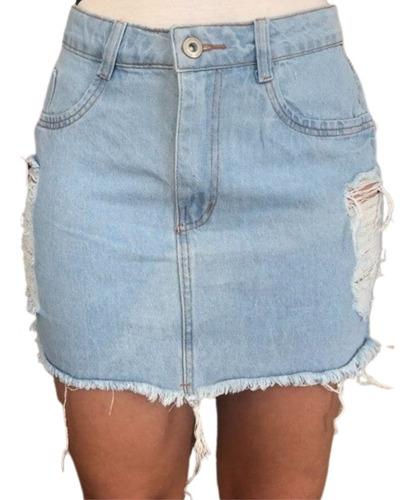 Imagem 1 de 2 de Saia Jeans Destroyed Rasgada Curta Desfiada Cintura Alta