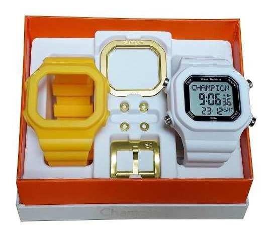 Relógio Champion Yot Troca Pulseira Branco Amarelo + Nf Orig