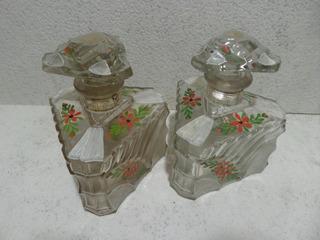 Juego X2 Perfumeros Antiguos,vidrio Facetado Pintado A Mano