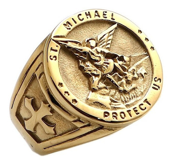 Anel São Miguel Arcanjo Exército Celestial Aço 316l Dourado