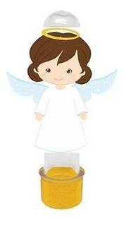 50 Tubete Com Nome 3 D Anjinhos Para Batizado