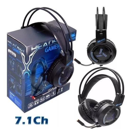 Fone Headset Gamer 7.1 Ps4 Usb Xbox Pc Microfone C/ Led P2