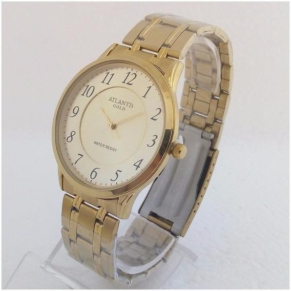 Relógio Feminino Atlantis Dourado Original Folheado A Ouro