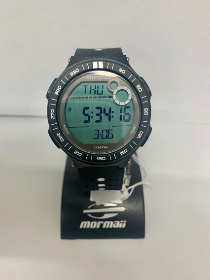 Relógio Mormaii Unissex Preto Com Branco Mo9830aa/8p