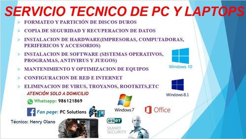 Imagen 1 de 1 de Servicio Tecnico De Pc Y Laptop A Domicilio