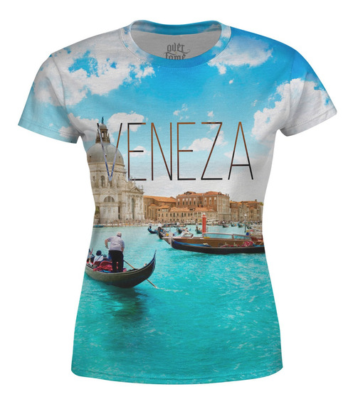Camiseta Baby Look Feminina Veneza Estampa Total