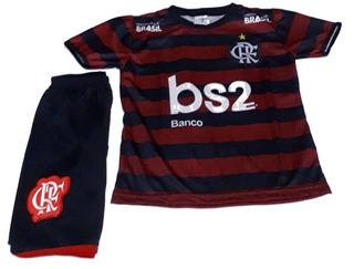 Kit Short E Camisa Uniforme Infantil Flamengo Promoção