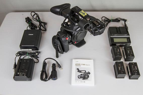 Canon Eos C100 Mark Ii + 4 Baterias + Case Rígido + 2 Sdxc