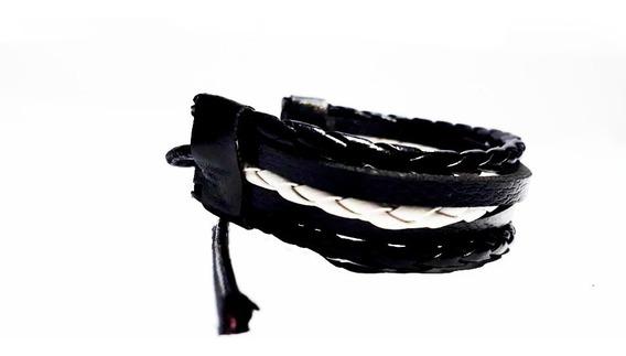 Pulseira Couro Masculino Feminino Bracelete Ajuste Barato
