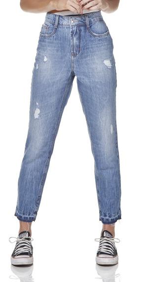 Calça Jeans Feminina Mom Com Puídos Denim Zero Dz3174