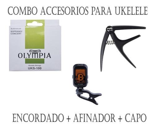 Pack Acc Ukelele: Encordado + Afinador + Capo / En Belgrano!