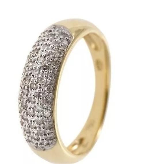 Anel Meia Aliança De Ouro 18k + Diamantes An19vivar