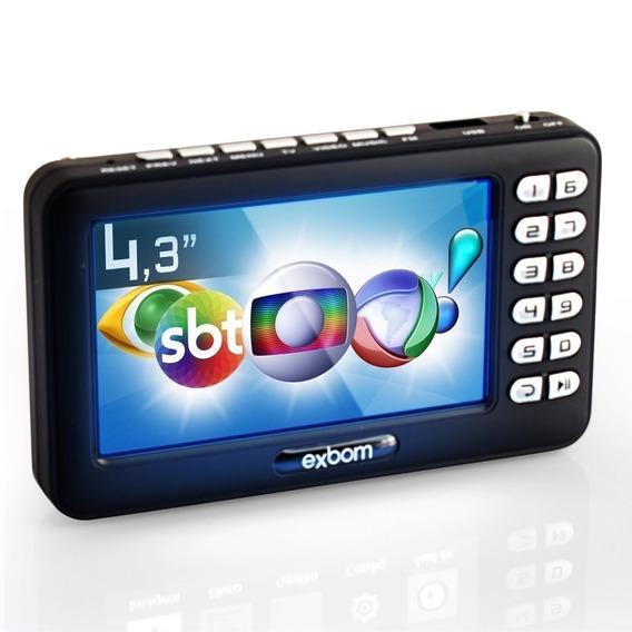 Mini Televisão Digital Portátil 4.3 Usb Fm Exbom Isdb-t