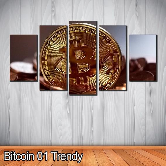 Cuadros Decorativos 5 Piezas Moneda Bitcoin En Polioleo