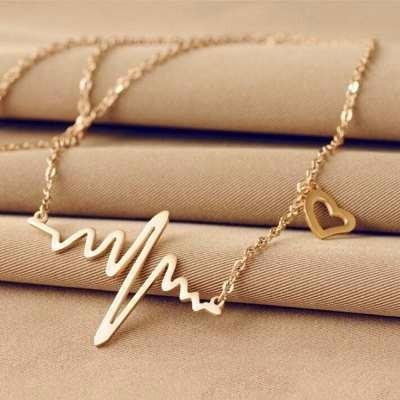 Colar Feminino Batimentos Cardíacos Folheado Ouro Black Frid