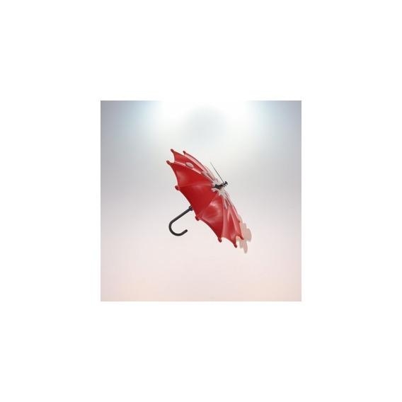 Relógio De Mesa Guarda Chuva Vermelho Plástico 15x15 Cm