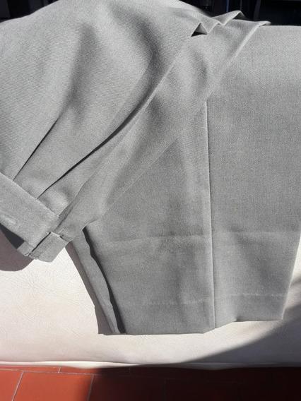 Pantalon De Vestir Recto Caballero Talle 60 Gris Verdoso