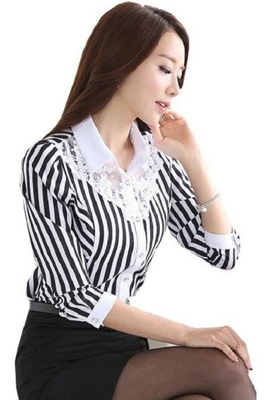 Camisa Social Importada Tule Renda Poa Listras Blusa Feminina Slim Fit