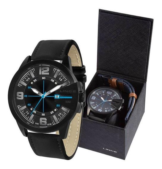 Relógio Lince Masculino Analógico Mrc4486s Kw39p2px - Troca Pulseira Aço E Couro Jeans