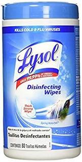Lysol Toallitas Desinfectantes, Spring Waterfall, 80 Toallas