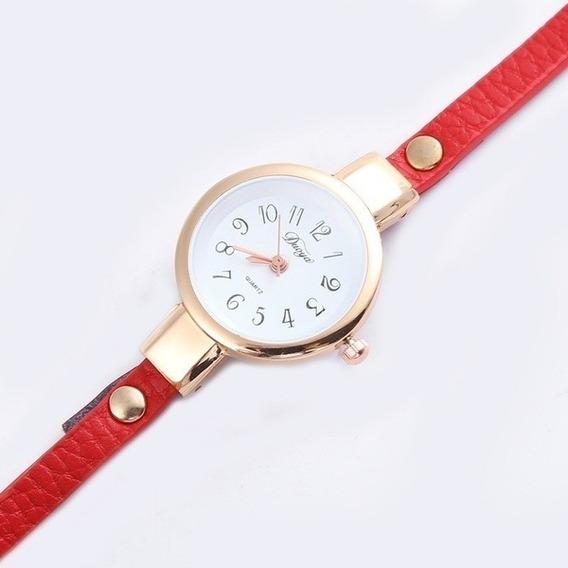 Relógio Yuhus Branco Dourado Pulseira De Couro